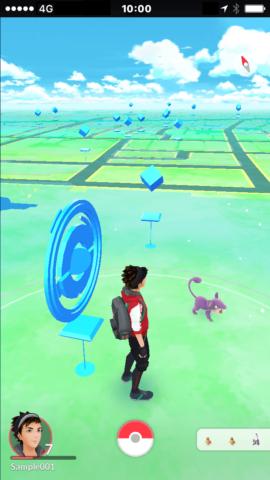 マップにはポケストップなどが表示される